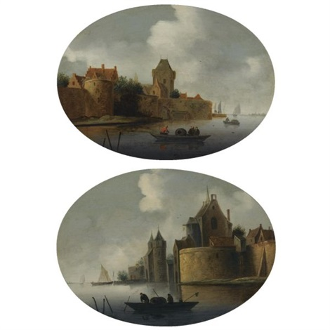 a river estuary with a fortified village on the left bank a fortified town by a river with fishermen hauling in their nets pair by frans de hulst