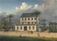 view of the premises of r. chambers in george-town, demerara april 3rd by joshua, r.a. bryant