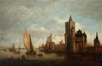 voiliers et embarcations près d'une ville fortifiée by jan coelenbier