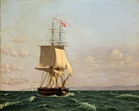 the brig møen (after c. w. eckersberg) by harald martin hansen holm