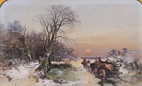 timber wagon breaking the ice at a frozen ford by charles branwhite