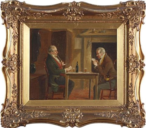 two gentlemen in an interior another pair by alexander austen
