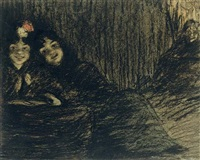 dos jóvenes y su dueña - two girls and their dueña by ramón pichot girones