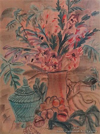 still life with lilies in a vase by frances mary hodgkins