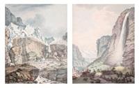 la chute du staubach et le glacier de grundenwald (pair) by johann ludwig aberli