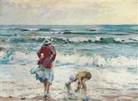 mère et enfant jouant sur la plage by charles garabed atamian