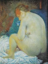 sitting woman's nude by vlacho bukovac