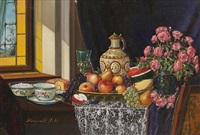 still life of fruit, flowers, tea and cake by reinprecht