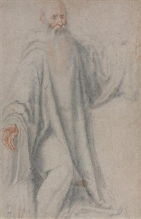 religieux de face, un genou à terre by cristofano allori