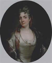 presumed portrait of marie-catherine de silvestre, née hérault, in a pearl-grey satin dress and a purple velvet coat by joseph vivien