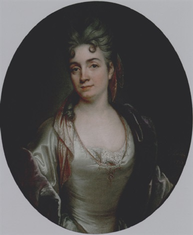 presumed portrait of marie catherine de silvestre née hérault in a pearl grey satin dress and a purple velvet coat by joseph vivien