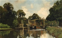 bridge over the river vecht at loenen aan de vecht by nicolaas bastert