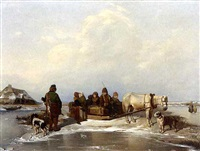 a winter landscape with figures in a horse-drawn sledge by dabreu
