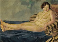 reclining female nude on blue and striped blankets by john french sloan