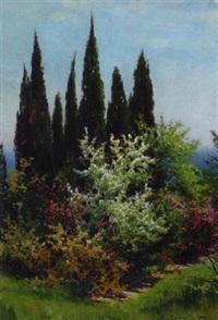 park mit blühenden sträuchern by viktor pavlovitch baturin