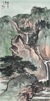 青崖松茂图 镜心 设色纸本 (painted in 1977 landscape) by xie zhiliu