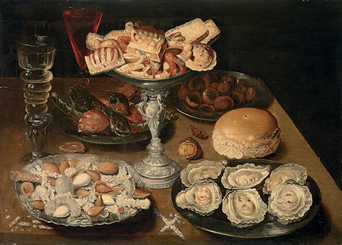 a silver tazza of sweetmeats pewter platters of oysters almonds figs and wine on a table by osias beert the elder