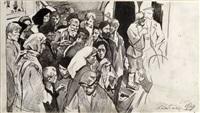 wartende menschengruppe by leonid kabatchek