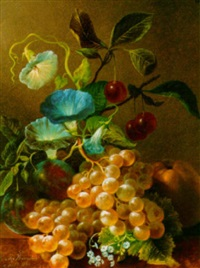 a still life with fruit and flowers by jan van der waarden
