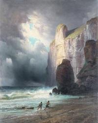 après le naufrage, au pied de la falaise by emile godchaux