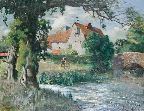 gardener with mill and millstream beyond by terence cuneo