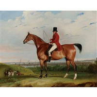 william bolton aspinall with the hooton, cheshire foxhounds, the river mersey and liverpool beyond by thomas weaver