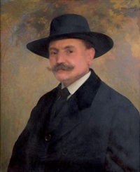 portrait d'homme au chapeau noir by paul alexandre alfred leroy