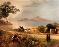 widok capri z zatoki neapolitańskiej by oswald achenbach