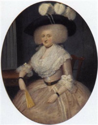 portrait of a lady in a pink dress with lace trimming, holding a fan, in an interior by francis alleyne