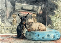 twee hondjes voor de haard by henriette ronner-knip