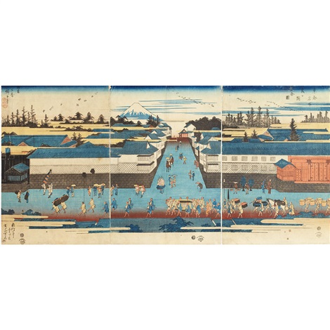 famous places of the eastern capital triptych by ando hiroshige