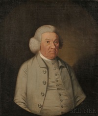 portrait of an elderly gentleman, wearing a powdered wig and gray suit by american school (18)