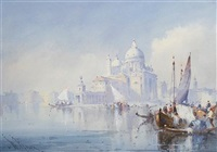 on the lagoon with st. mark's square in the distance (+ santa maria della salute; 2 works) by william knox