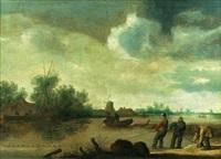 scène d'estuaire en hollande avec des pêcheurs by jan coelenbier