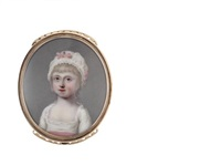 the hon. juliana dawson, wearing white dress with pink sash to her waist, her white bonnet finished with matching pink ribbon by henry spicer