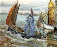harbour scene by abraham minchtine