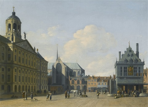 amsterdam a view of the dam square in the late afternoon looking north with the town hall on the left the nieuwe kerk beyond it and the waag to the right by gerrit adriaensz berckheyde