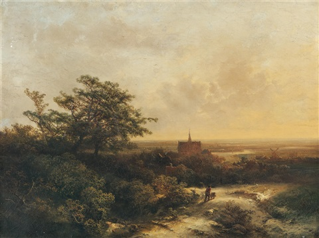 holländische panoramalandschaft mit einer stadt by pieter lodewijk francisco kluyver