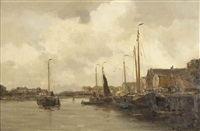 view of a town by a river by willem george frederik jansen