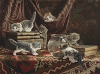 kittens with books and a fish bowl by cornelis raaphorst