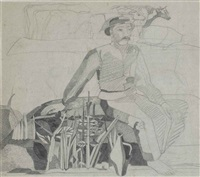 a seated farmer by heinrich campendonk