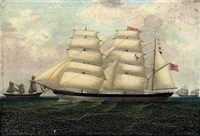 lyra of shoreham outward-bound from liverpool, 15th may 1888 (+ 3 others; 4 works) by richard peterson atkinson