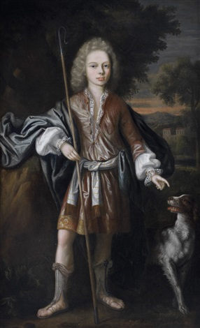 portrait of a young man as a shepherd traditionally identified as john master of elphinstone standing with his dog before a landscape by william aikman