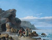 pêcheurs sur le rivage by robert léopold leprince