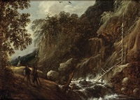 a wooded river landscape with figures conversing on a path near a waterfall by françois van knibbergen