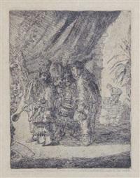 iston, pouffamatus, cracozie et transmouffe, célèbres médecins persans examinant les selles du roi darius après la bataille d'arbelles by james ensor