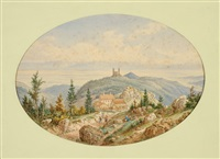 view of barr in the elzas (+ view of the château d'andlau; 2 works) by jean nicholas karth