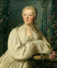 portrait de femme en déshabillé blanc by louis richard françois dupont