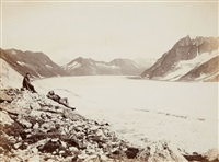 aletschgletscher und eggishorn von der concordiahütte aus (aletsch glacier and eggishorn, seen from concordia lodge) by vittorio sella