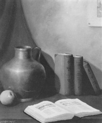 still life with books, apple and vase by johanna g. van eybergen